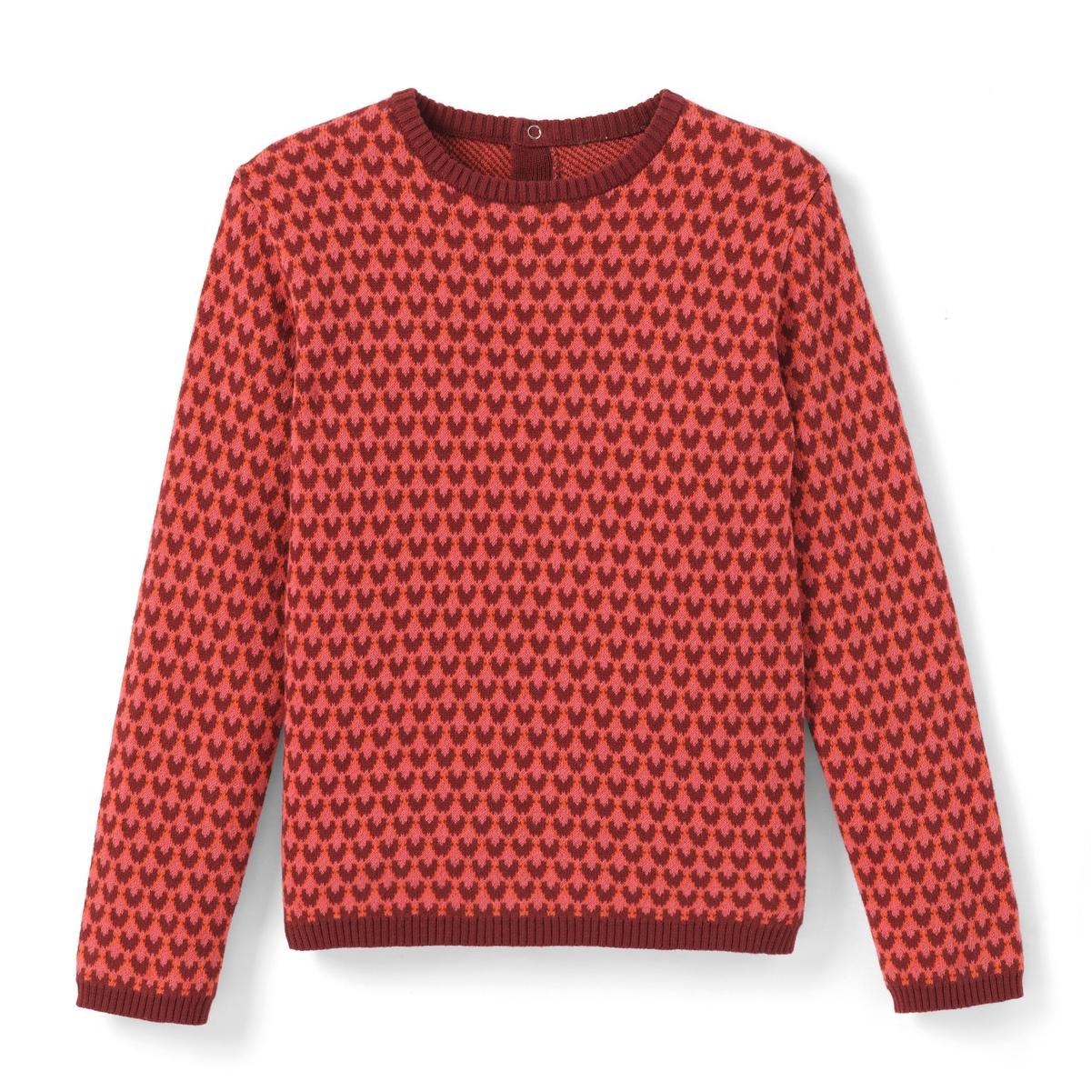 Пуловер жаккардовый с геометрическим рисунком, 3-12 лет