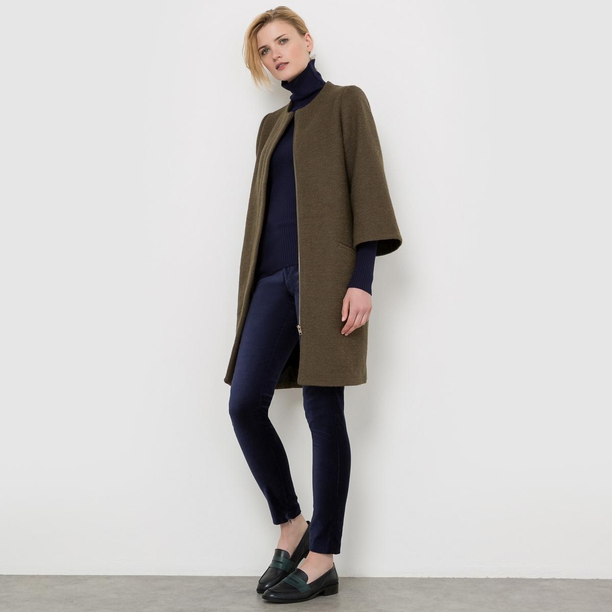 Пальто на молнии, 50% шерсти пальто на молнии из шерстяного драпа