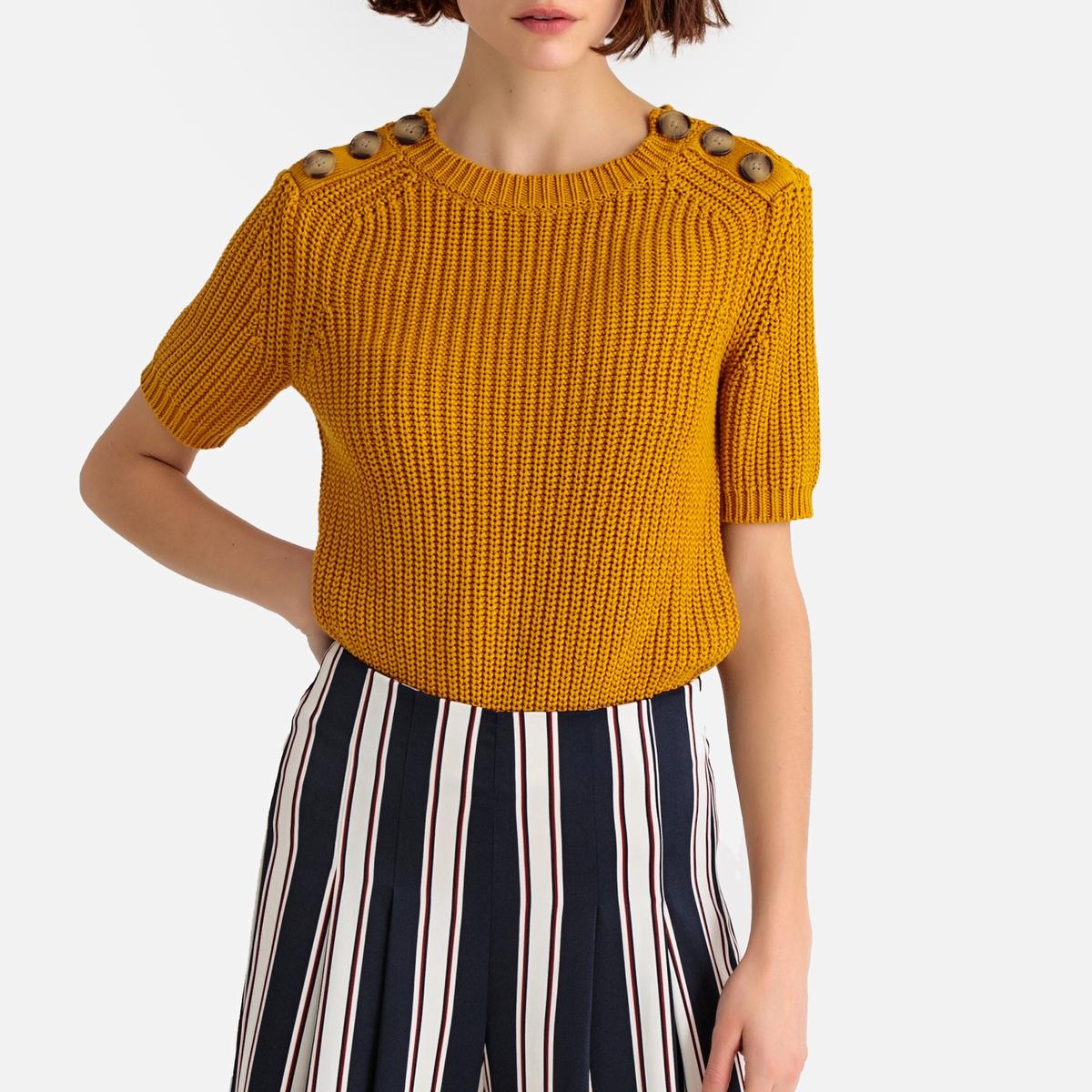 цена Пуловер La Redoute С короткими рукавами из плотного хлопкового трикотажа XXL желтый онлайн в 2017 году
