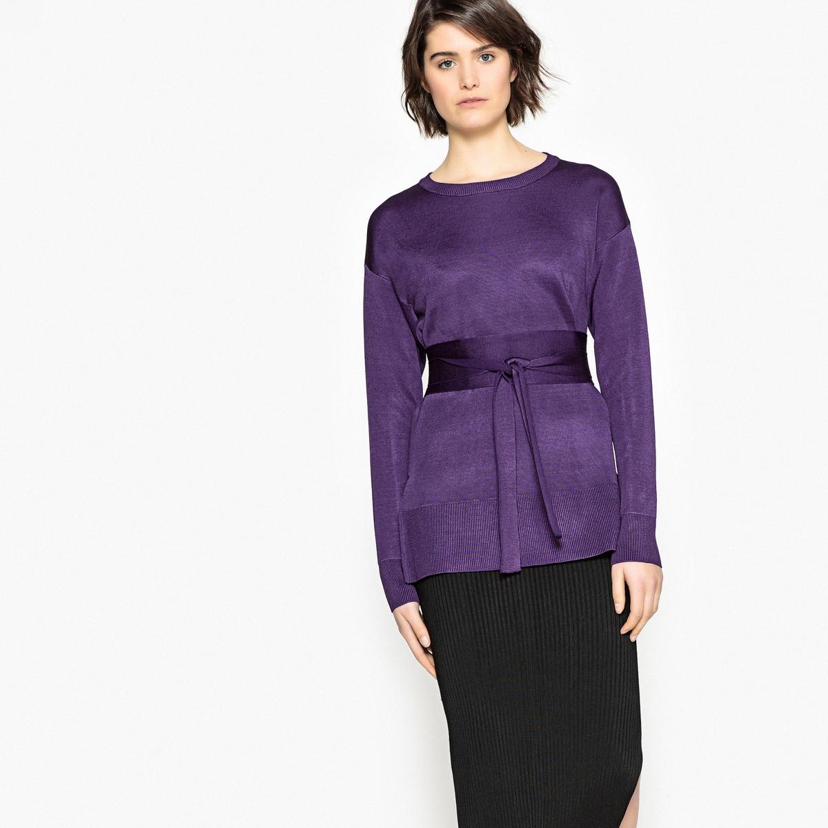 Пуловер La Redoute С круглым вырезом и поясом S фиолетовый свитшот la redoute с круглым вырезом и вышивкой s черный