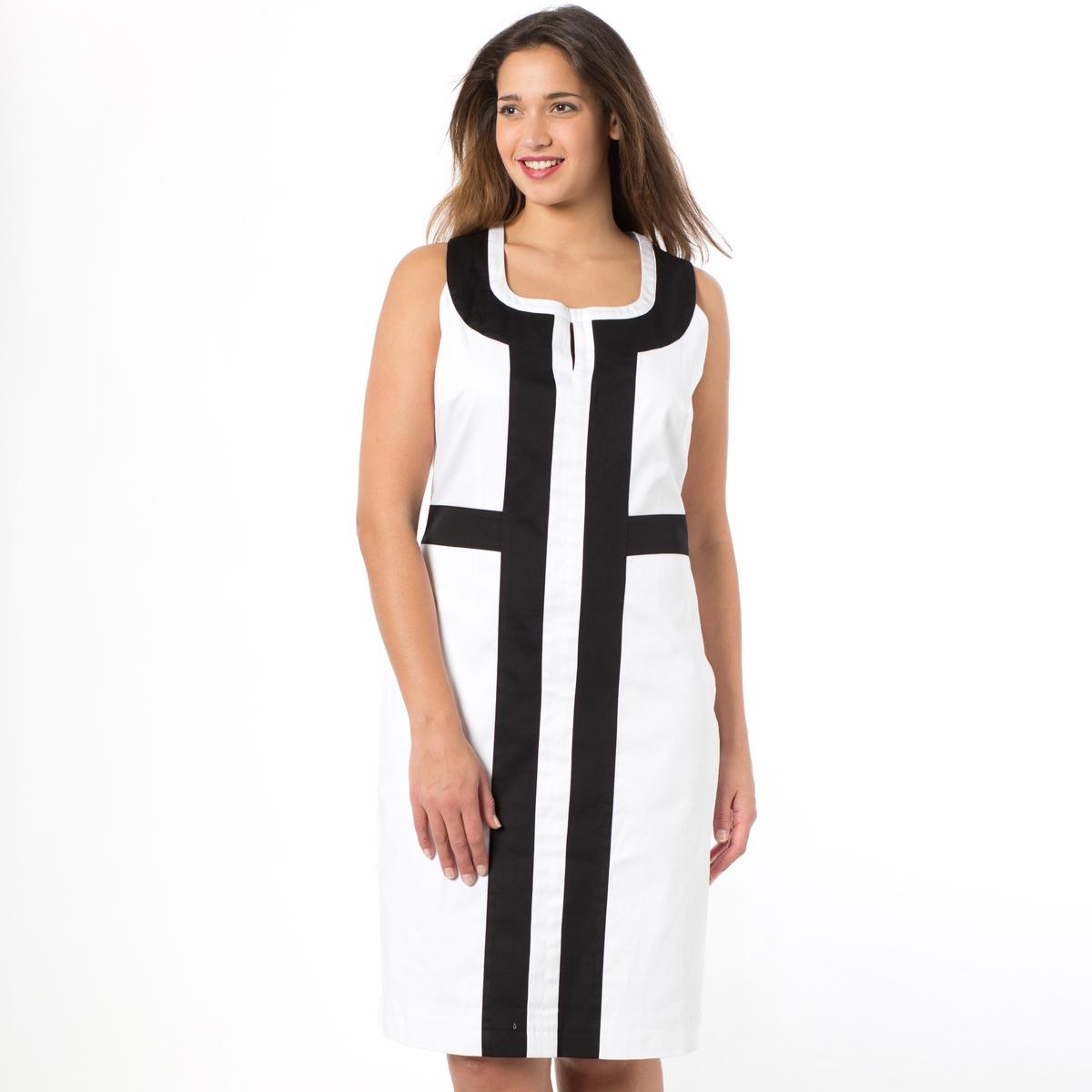 Платье прямого покрояПлатье прямого покроя без рукавов. Двухцветное платье с контрастными швами, вдохновленное графикой… Закругленный вырез с разрезом. Молния сбоку. 98% хлопка, 2% эластана, подкладка из полиэстера. Длина ниже колена, 100 см.<br><br>Цвет: белый + черный<br>Размер: 46 (FR) - 52 (RUS).52 (FR) - 58 (RUS)