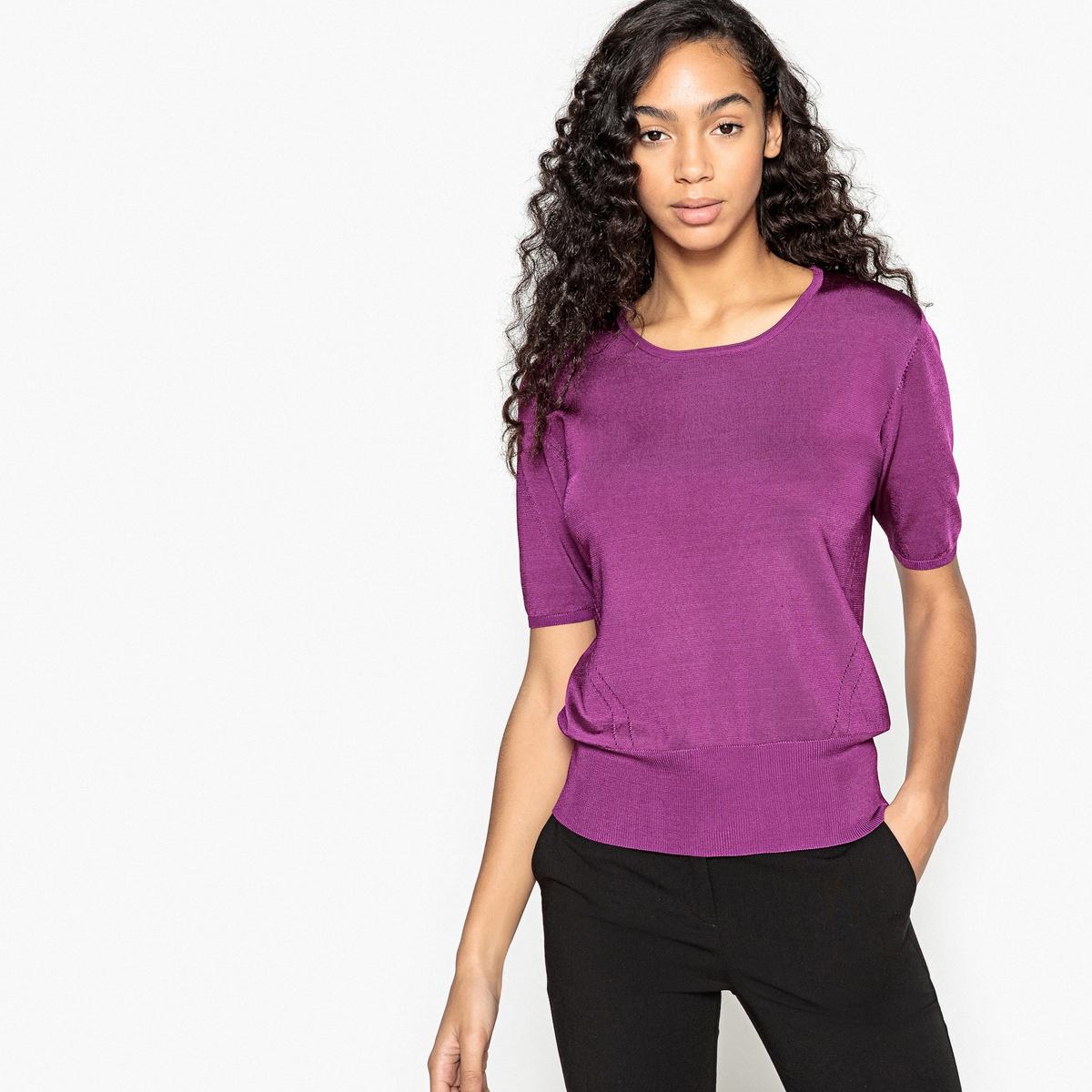 Пуловер La Redoute С круглым вырезом и короткими рукавами S фиолетовый пуловер la redoute с круглым вырезом в полоску из плотного трикотажа s красный