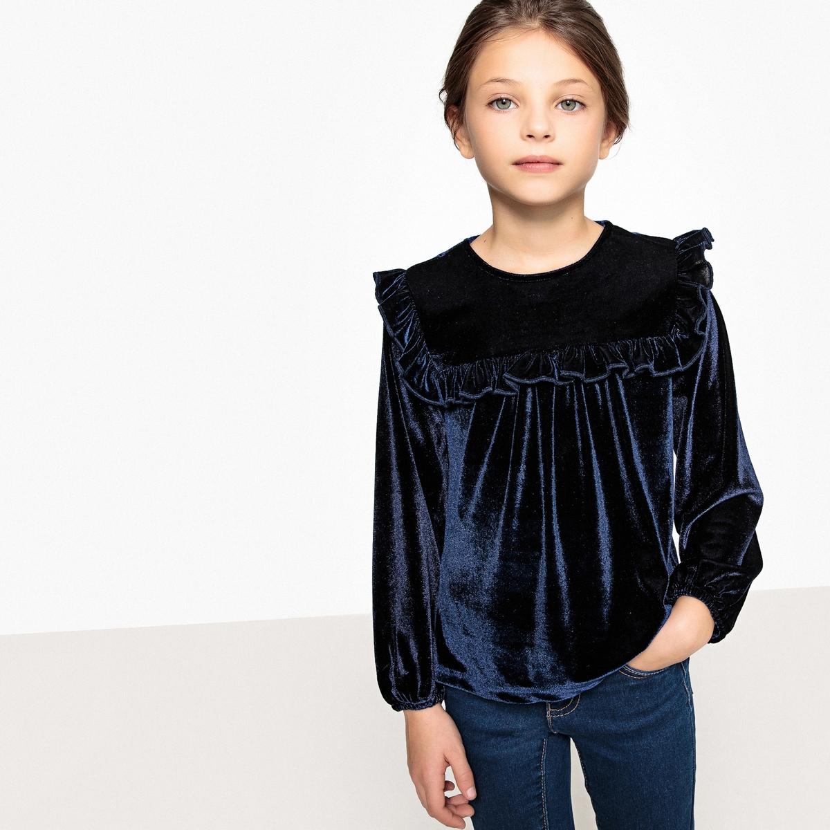 Фото - Блузка из велюра с воланами 3-12 лет блузка боди с воланами 0 месяцев 3 года