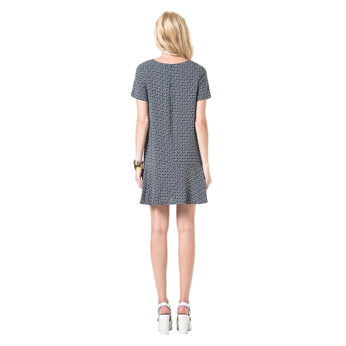 Платье расклешенного покроя с короткими рукавамиДетали  •  Форма : расклешенная   •  Длина до колен •  Короткие рукава    •  Круглый вырезСостав и уход  •  100% вискоза •  Следуйте рекомендациям по уходу, указанным на этикетке изделия<br><br>Цвет: темно-синий<br>Размер: M