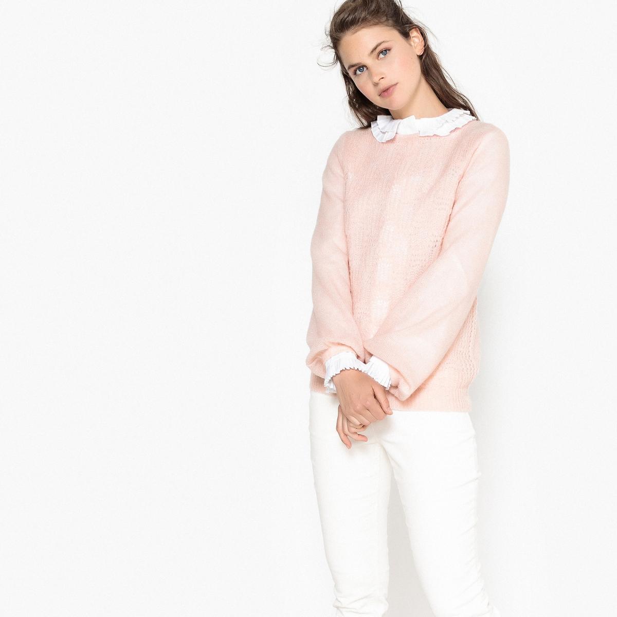 Пуловер ажурный с круглым вырезом ажурный пуловер quelle ajc 787037