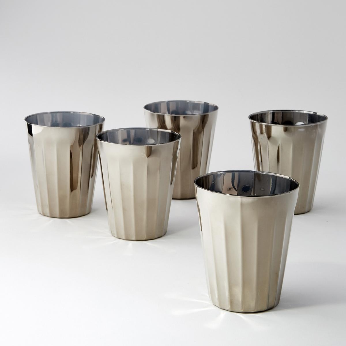 4 стакана серебристых большая модель Tagla4 стакана из стекла с гранями  Tagla.  Размер. : диаметр 9,5 x высота 15 см.<br><br>Цвет: серый металлик