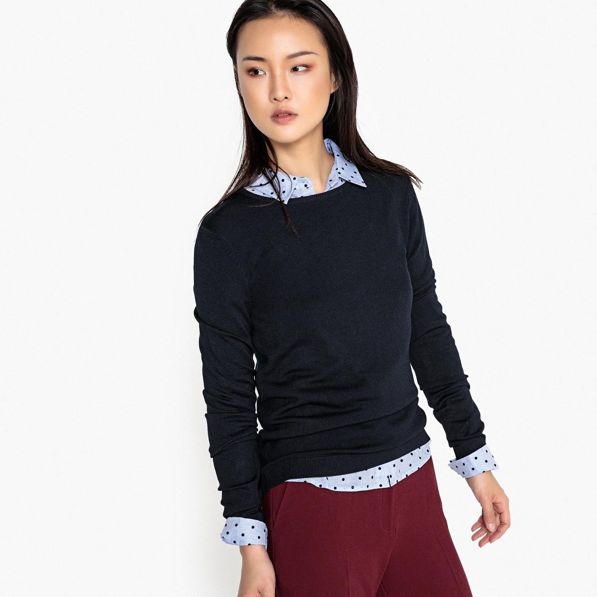 Пуловер базовый с круглым вырезом, вискоза
