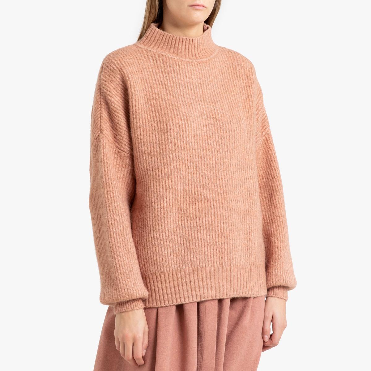 Пуловер La Redoute Длинный с воротником-стойкой из трикотажа PITKIN M розовый цена в Москве и Питере