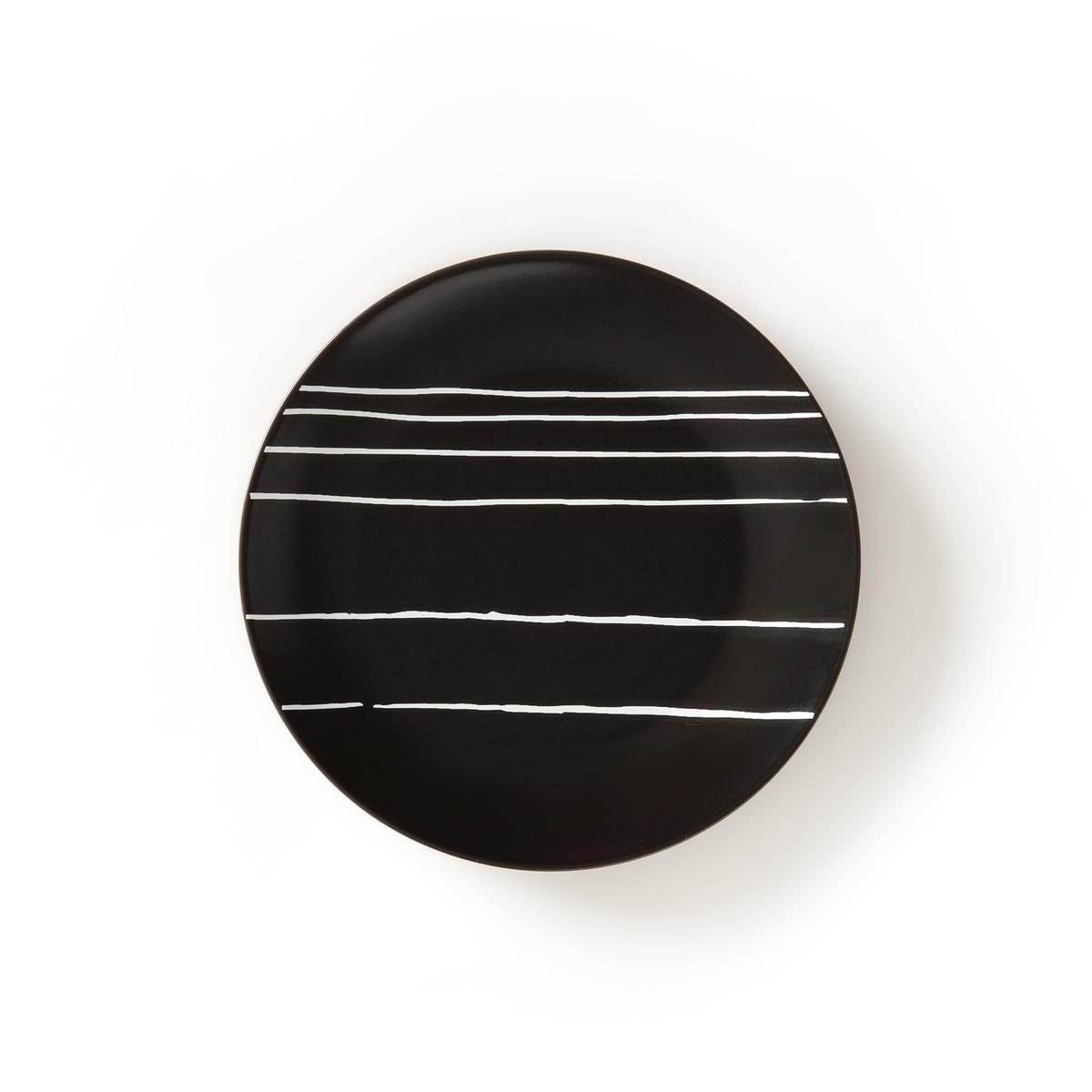 4 тарелки десертные, TADSITПодчеркните ваши самые красивые кулинарные шедевры с помощью этой десертной тарелки из коллекции Tadsit ! Описание десертной тарелкиTadsit :Из тонкой керамики Стильный внешний вид черного цвета в белую полоску Можно использовать в посудомоечных машинах и микроволновых печахРазмеры десертной тарелки Tadsit :Диаметр : 20 смНайдите коллекцию Tadsit на сайте laredoute .ru !<br><br>Цвет: наб. рисунок черный/ белый