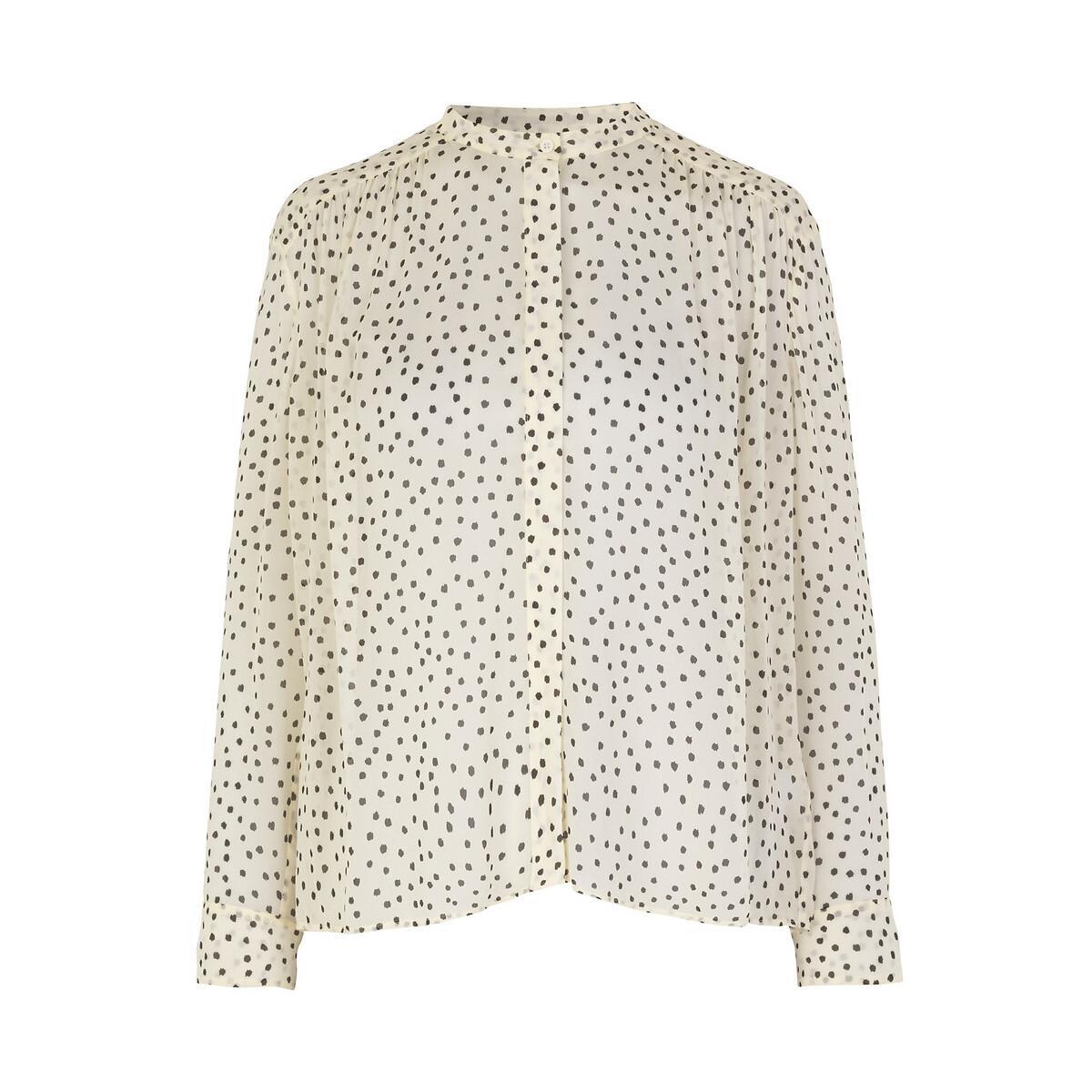 Блузка La Redoute С круглым вырезом цветочным принтом длинными рукавами S черный