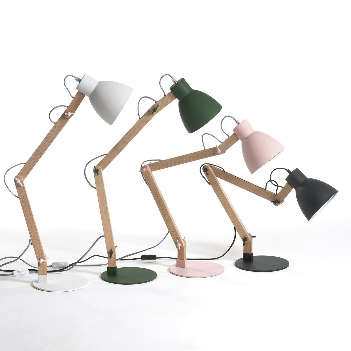 Лампа настольная ThaddeusНастольная лампа со свежим и простым дизайном, в скандинавском стиле, из необработанного дуба и металла с белым матовым эпоксидным покрытием . Электрический кабель из серого хлопка . Регулируемые лапка и абажур с крепежом из металла . Патрон E27 для флюокомпактной лампочки макс 20W (не входит в комплект)  . Размеры (в обычном положении). Д.45 x Г.20 см x высота ок.7 см.Этот светильник совместим с лампочками    энергетического класса   A .Это изделие может подойти для детской комнаты ( с 14 лет) в зависимости от действующих норм  .<br><br>Цвет: белый,розовый,хаки,черный<br>Размер: единый размер.единый размер.единый размер