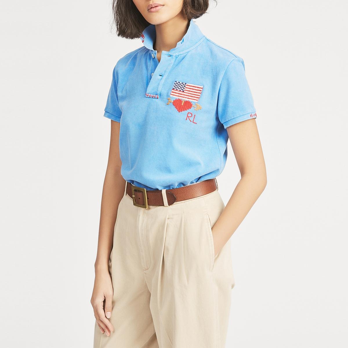 Футболка-поло La Redoute С короткими рукавами S синий футболка поло la redoute с короткими рукавами xs белый
