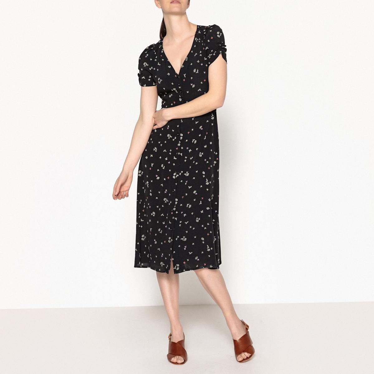 Платье с рисунком средней длины UPALAОписание:Платье с рисунком SESSUN - модель UPALA. Складки на плечах и рукавах. Отрезное платье по талии, вшитый пояс с завязками. Платье с застежкой на пуговицы по всей длине.Детали •  Форма : расклешенная •  Длина до колен •  Короткие рукава    •   V-образный вырез •  Рисунок-принтСостав и уход •  100% вискоза •  Следуйте рекомендациям по уходу, указанным на этикетке изделия •  Длина : ок. 116 см. для размера S<br><br>Цвет: рисунок черный