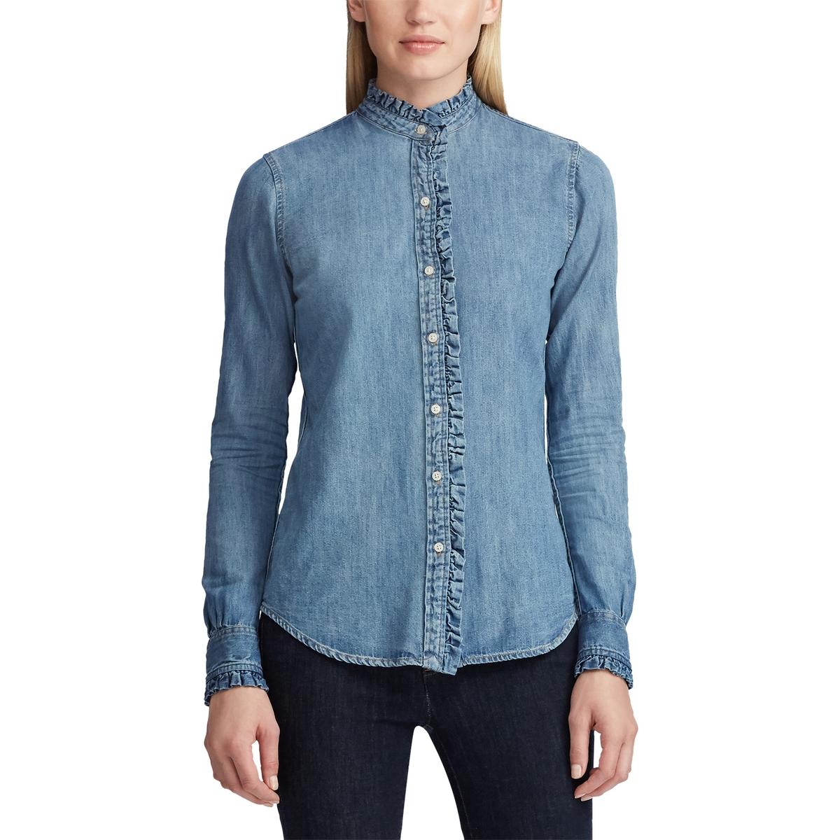 Рубашка La Redoute С длинными рукавами и воротником с воланом L синий рубашка la redoute с длинными рукавами и воротником стойкой с воланом 48 fr 54 rus розовый