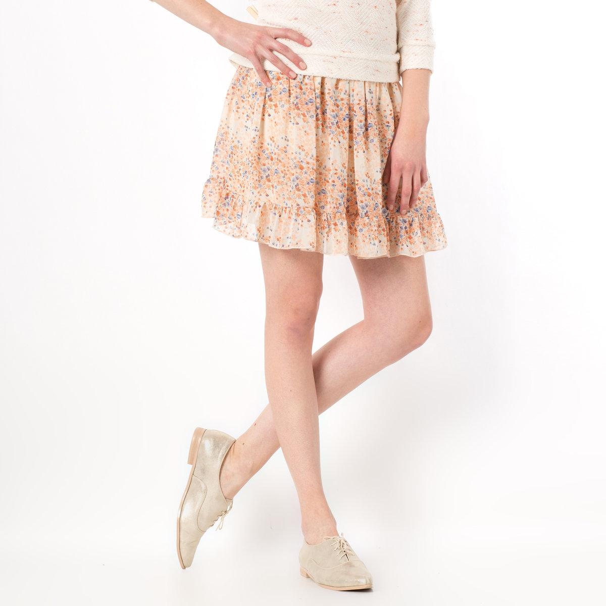 Юбка с цветочным рисунком и воланом, 25% шелкаЮбка MOLLY BRACKEN. Очаровательная юбка с цветочным рисунком четырех главных цветов сезона. Настоящее удовольствие носить эту легкую, летнюю модель!Расклешенная юбка с 1 воланом по низу. На подкладке. Юбка из 75% полиэстера, 25% шелка. Подкладка из полиэстера.<br><br>Цвет: рисунок/экрю<br>Размер: единый размер