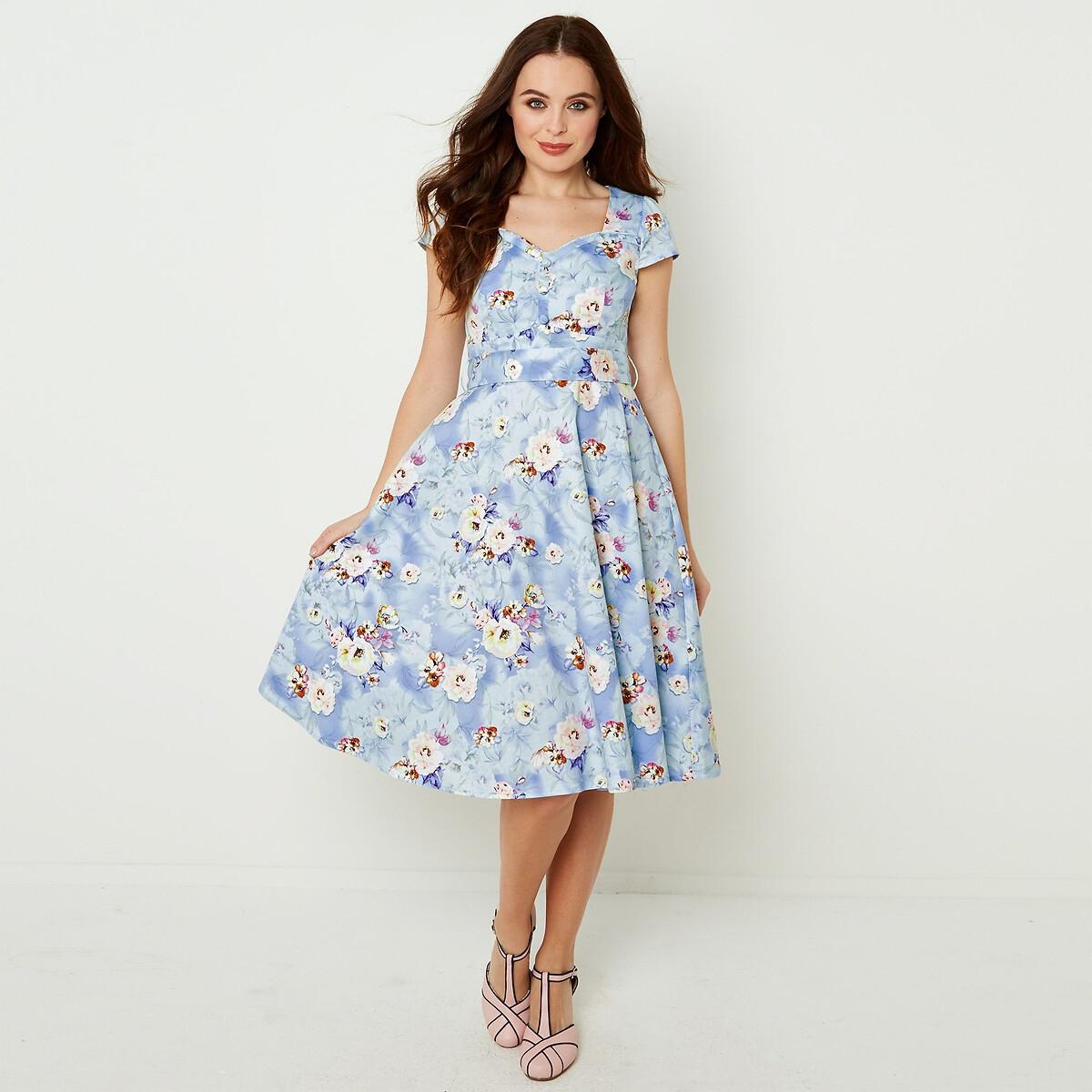 Платье La Redoute С цветочным рисунком расклешенное на пуговицах с завязками 40 (FR) - 46 (RUS) синий