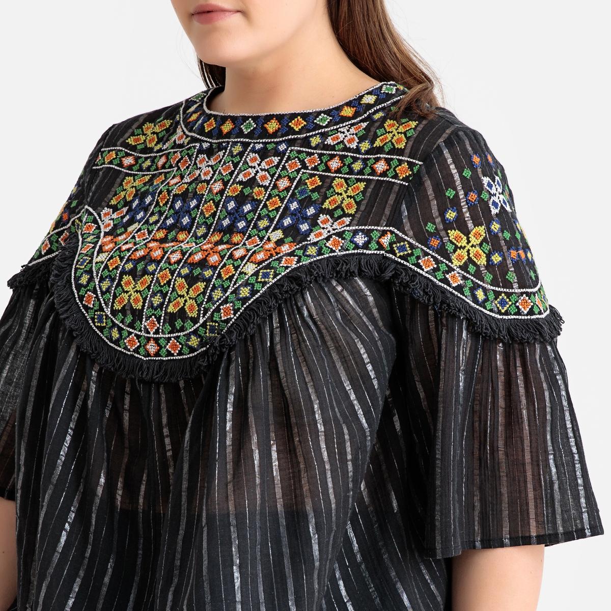 цены Блузка La Redoute В полоску с манишкой с вышивкой и короткими рукавами 48 (FR) - 54 (RUS) черный