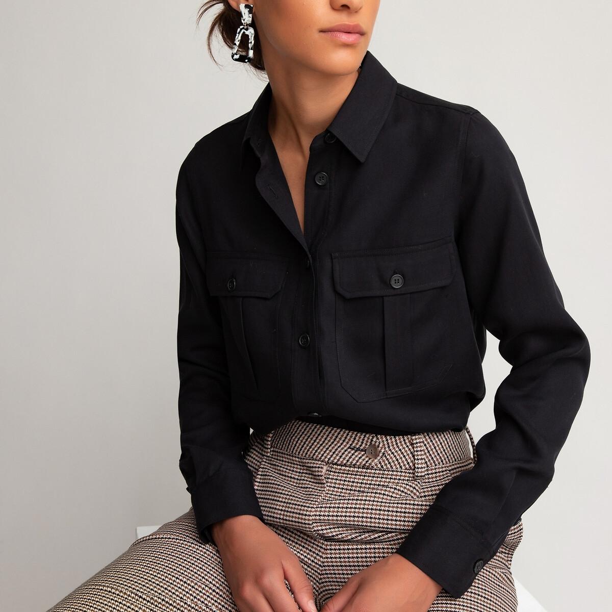 Camisa vaporosa de estilo militar de manga larga