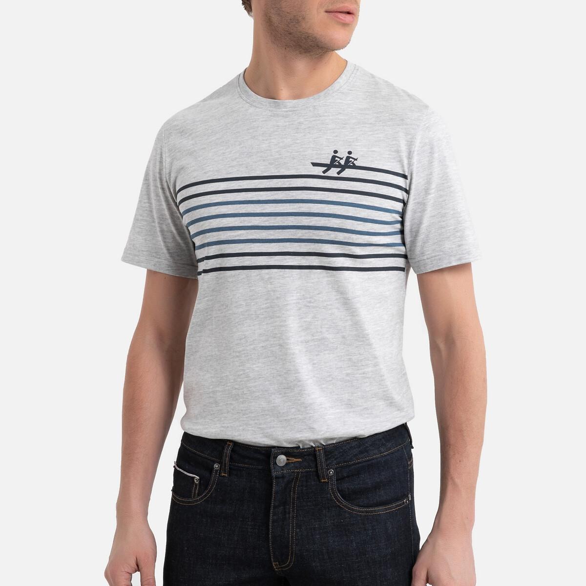 Футболка La Redoute С круглым вырезом короткими рукавами и рисунком спереди 3XL серый футболка la redoute с круглым вырезом и принтом спереди 3 года 94 см серый
