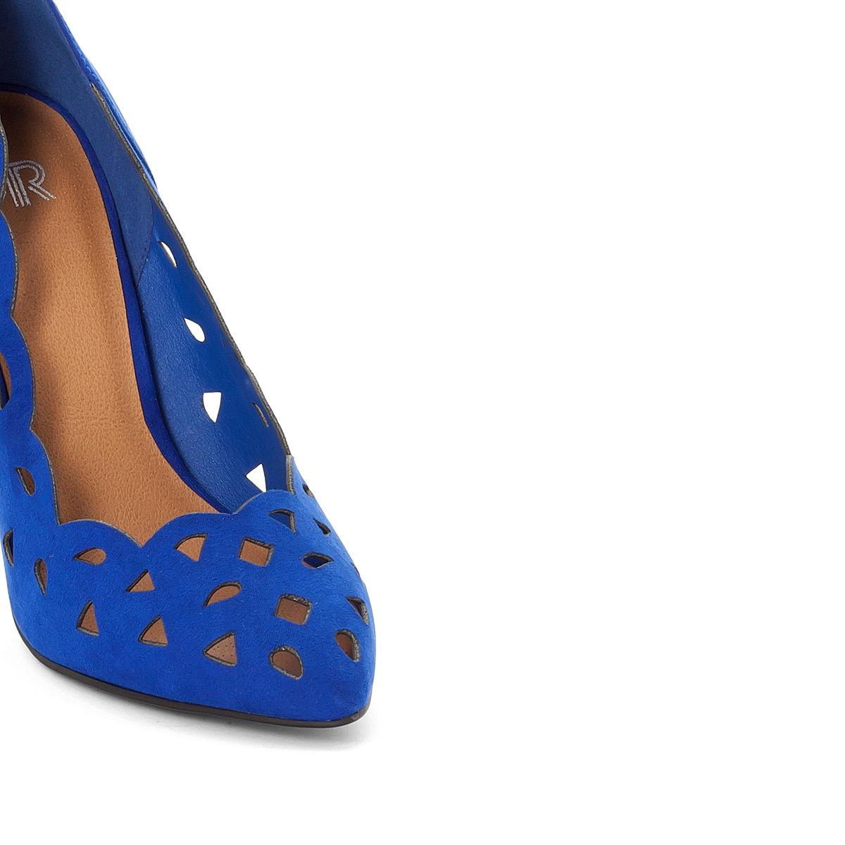 Туфли на каблуке-шпильке из ажурного велюраОписание:Детали •  Каблук-шпилька •  Высота каблука : 10 см •  Застежка : без застежки •  Заостренный мысок •  Велюровая отделка, нубукСостав и уход •  100% синтетический материал •  Подкладка : 100% синтетический материал •  Стелька : 100% кожа. •  Подошва : 100% эластомер<br><br>Цвет: синий,черный
