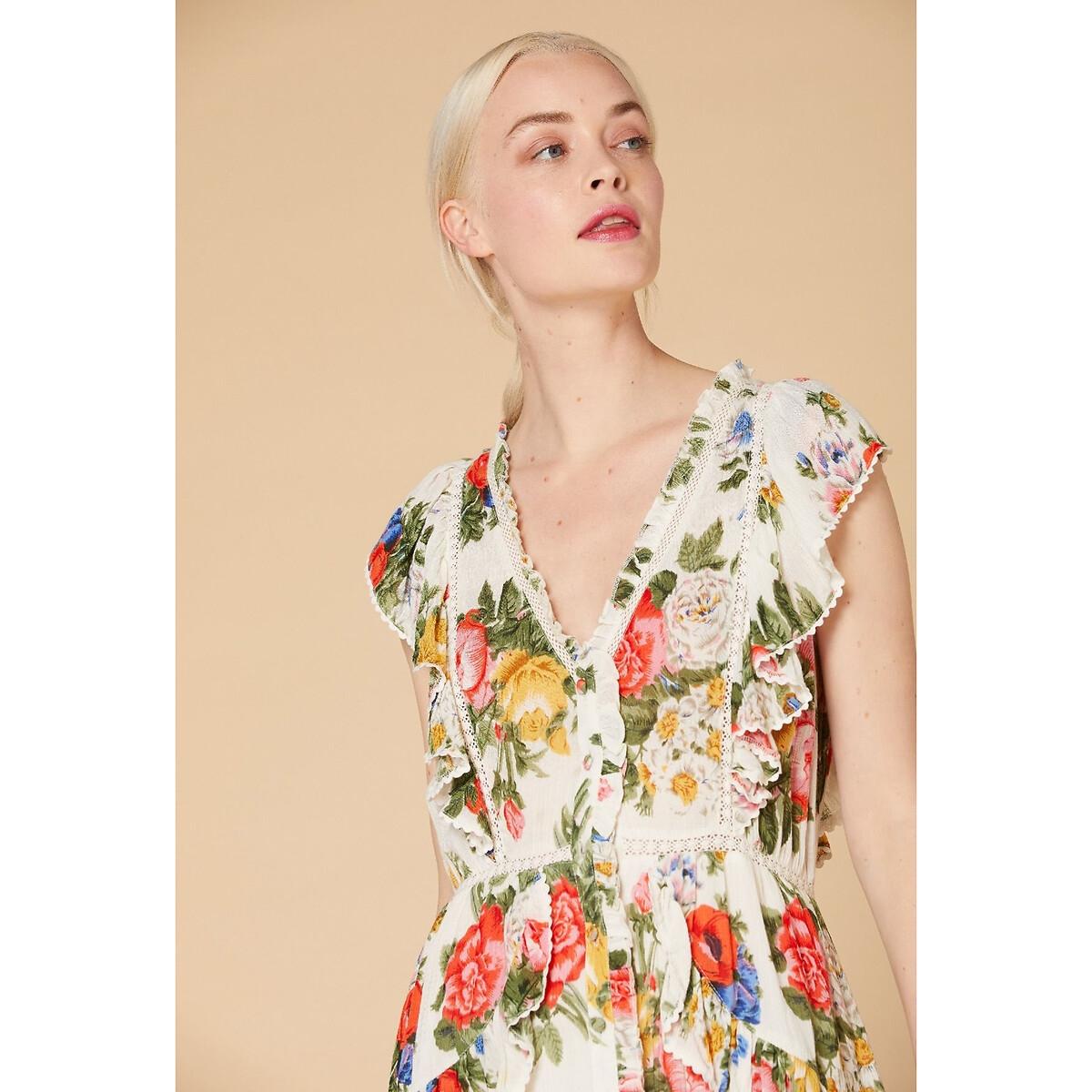 Платье La Redoute С цветочным рисунком застежкой на пуговицы и воланами L бежевый