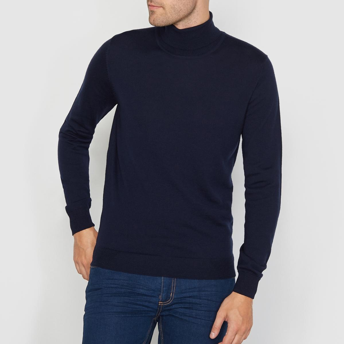 Пуловер с отворачивающимся воротником из шерсти мериносаСостав и описание  :Материал : 100% шерсти мериноса.Длина :  68 смМарка : R essentiel.Уход : Обратите внимание на рекомендации по уходу на этикетке.<br><br>Цвет: темно-синий<br>Размер: 3XL
