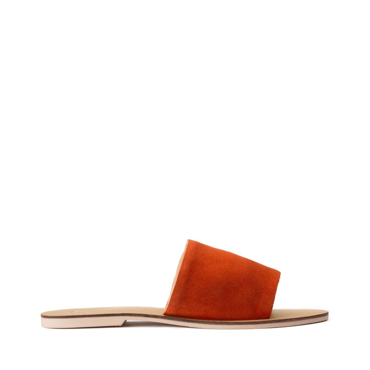 Туфли La Redoute Без задника из кожи на плоском каблуке 40 оранжевый