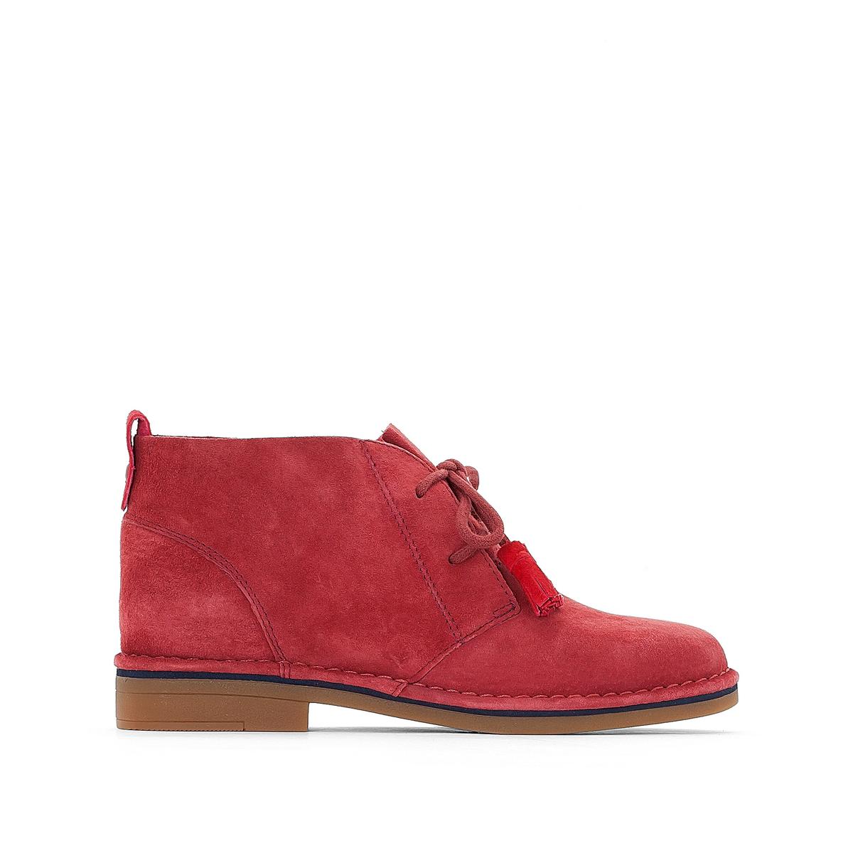 Ботинки из кожи Cyra CatelynВерх/Голенище: кожа.       Стелька: кожа.      Подошва: каучук.Высота каблука: 2 см.      Форма каблука: плоский каблук.Мысок: закругленный.Застежка: шнуровка.<br><br>Цвет: красный<br>Размер: 38.37