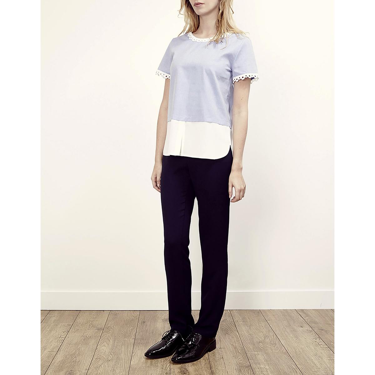 Блузка с круглым вырезом, с кружевом и короткими рукавами LENNY B, TOUCAN lenny b блузка