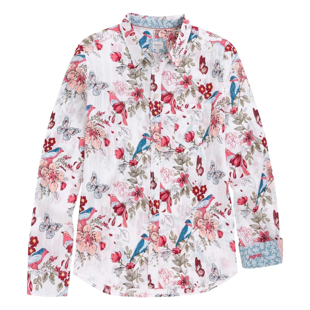 Рубашка с анималистичным принтом с длинными рукавами цена 2017