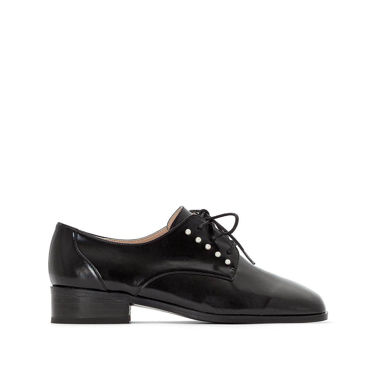 Ботинки-дерби со вставкой с бисером