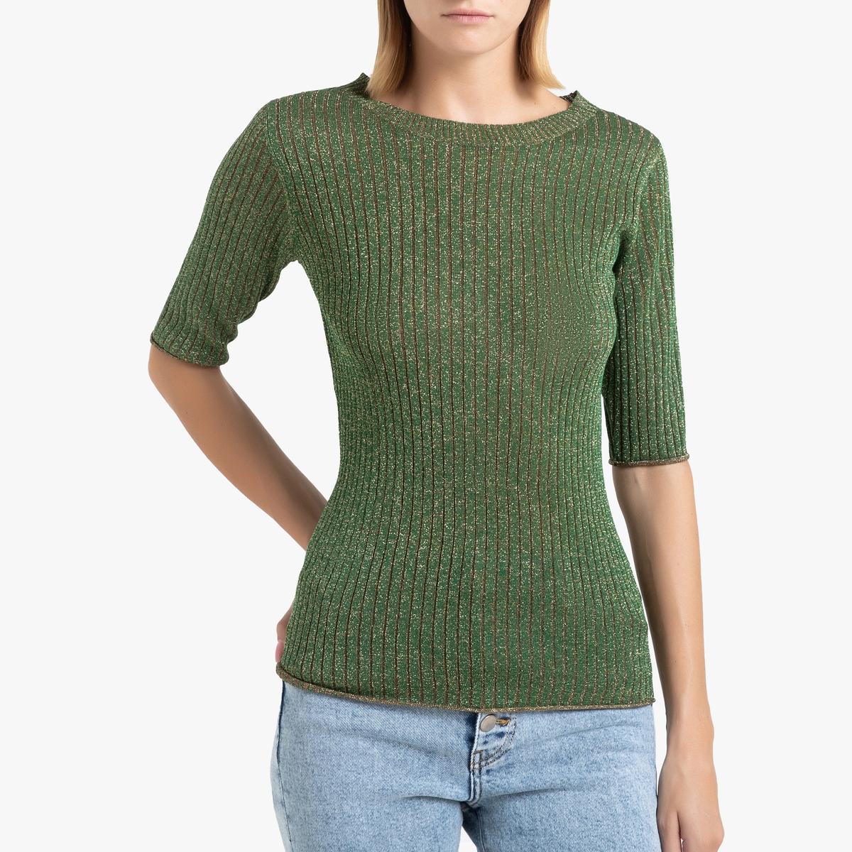 цена Пуловер La Redoute С круглым вырезом из блестящего трикотажа GLITTER 40 (FR) - 46 (RUS) зеленый онлайн в 2017 году