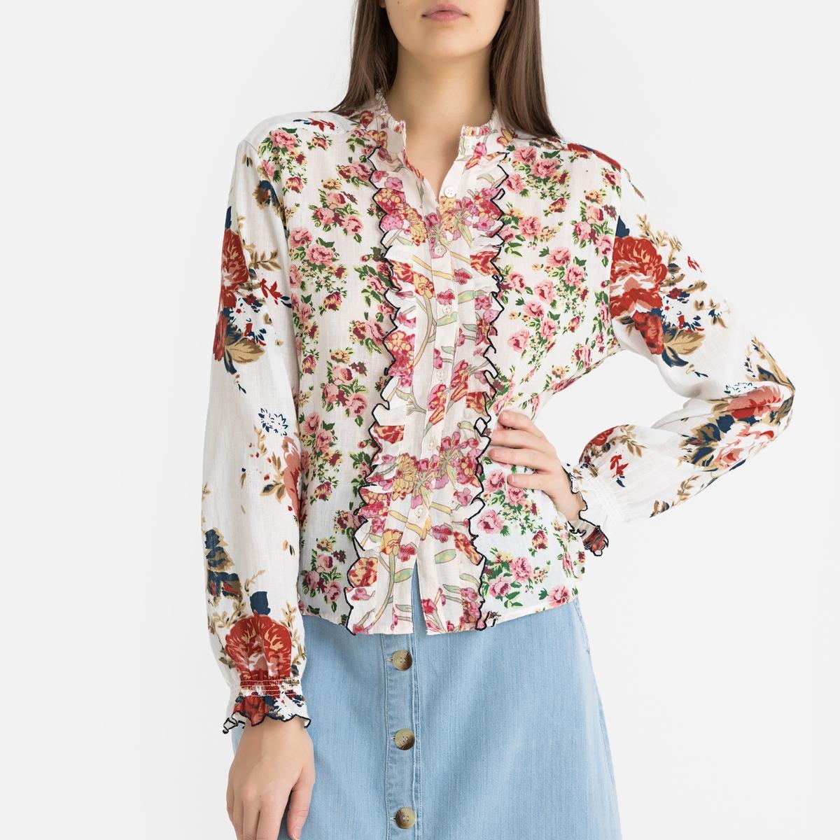 Рубашка La Redoute С длинными рукавами COQUETTE S белый цена 2017