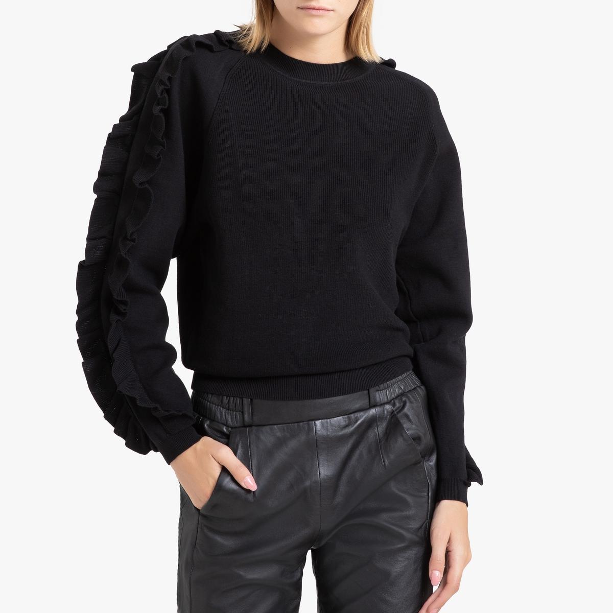 Пуловер La Redoute С круглым вырезом и воланами из тонкого трикотажа CIEL 0(XS) черный