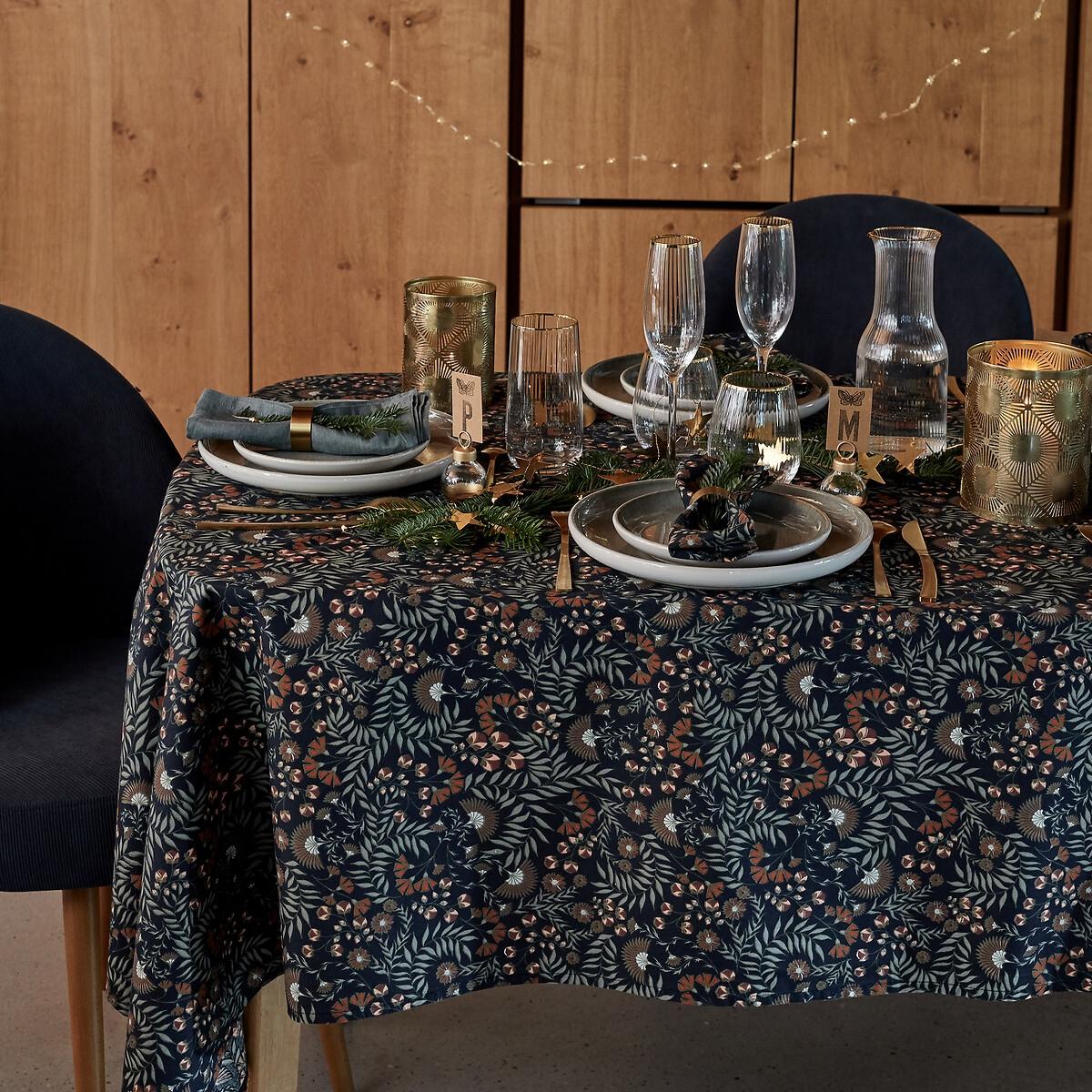 Скатерть LaRedoute С принтом из стираного хлопка Majari 150 x 300 см синий