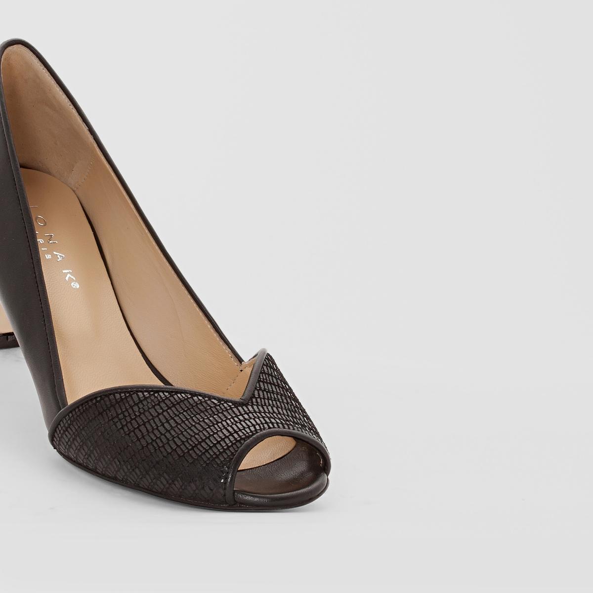Туфли кожаные с открытым мыскомJONAKОткрытые кожаные туфли JONAKВерх : Кожа (яловичная)Подкладка : кожа Стелька : кожа Подошва : из эластомераВысота каблука : 4,5 смЗастежка : без застежки.Преимущества:   : Туфли JONAK с открытым мыском делают ставку на элегантность за счёт сочетания двух неброских материалов и на сдержанность благодаря каблукам средней высоты.<br><br>Цвет: черный<br>Размер: 36