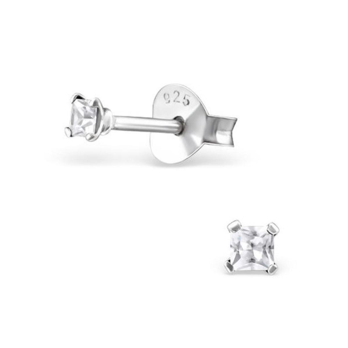 Boucles d'oreilles Carré 2 mm Argent 925