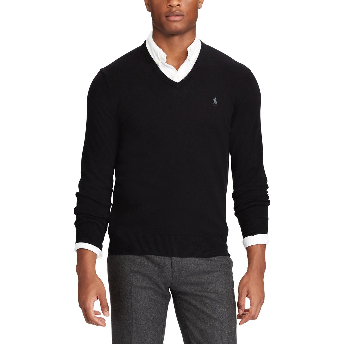 Пуловер La Redoute С V-образным вырезом из шерсти мериноса S черный пуловер la redoute с круглым вырезом из шерсти мериноса pascal 3xl черный