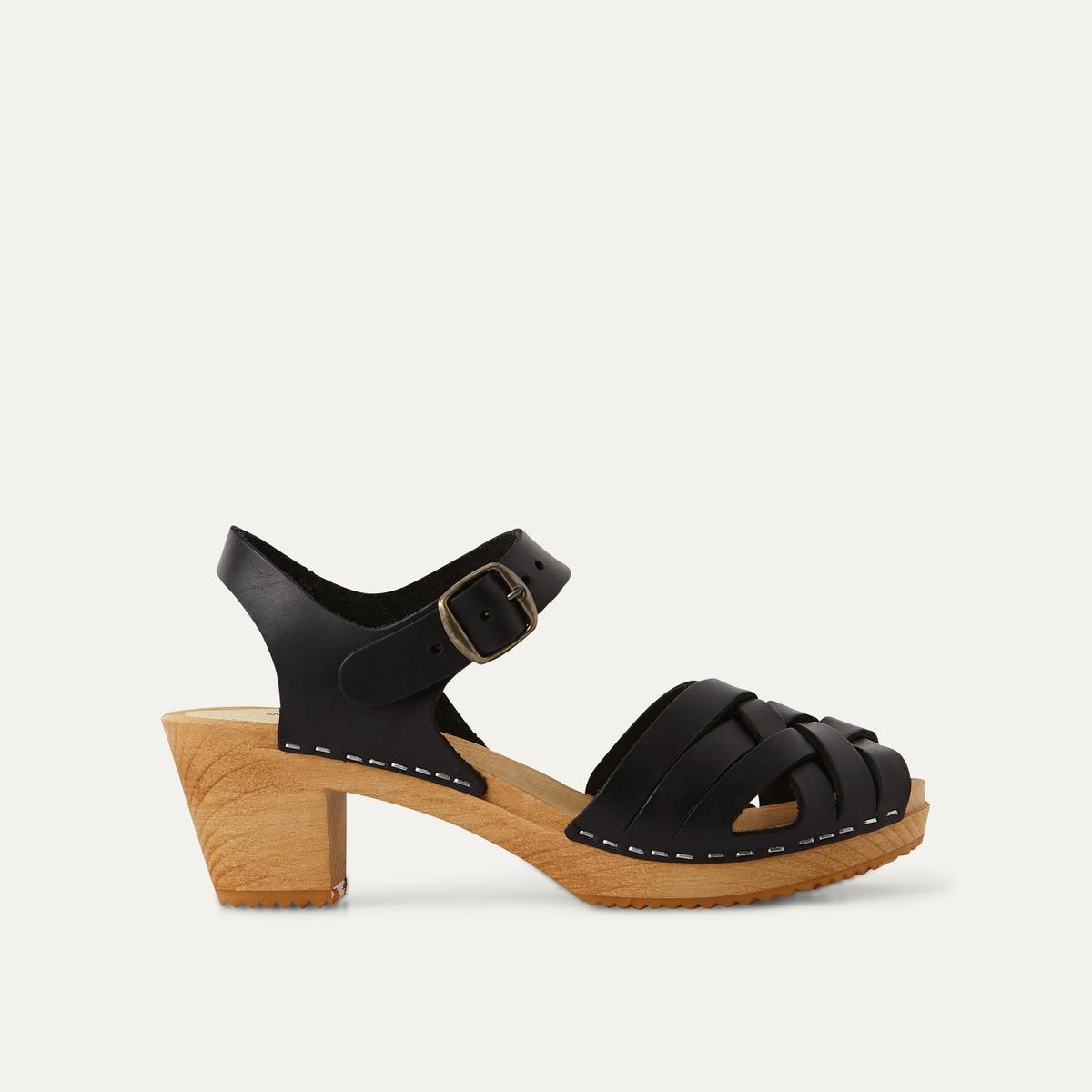 Босоножки La Redoute Кожаные с плетным мыском 41 черный туфли la redoute кожаные с открытым мыском и деталями золотистого цвета 41 черный