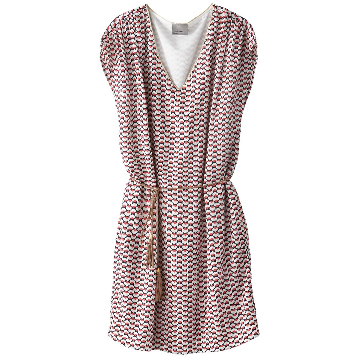 Платье длиной до колен, с короткими рукавами, однотонноеДетали  •  Форма : прямая •  Длина до колен •  Короткие рукава    •   V-образный вырез Состав и уход  •  100% полиэстер •  Следуйте рекомендациям по уходу, указанным на этикетке изделия<br><br>Цвет: коралловый<br>Размер: XS