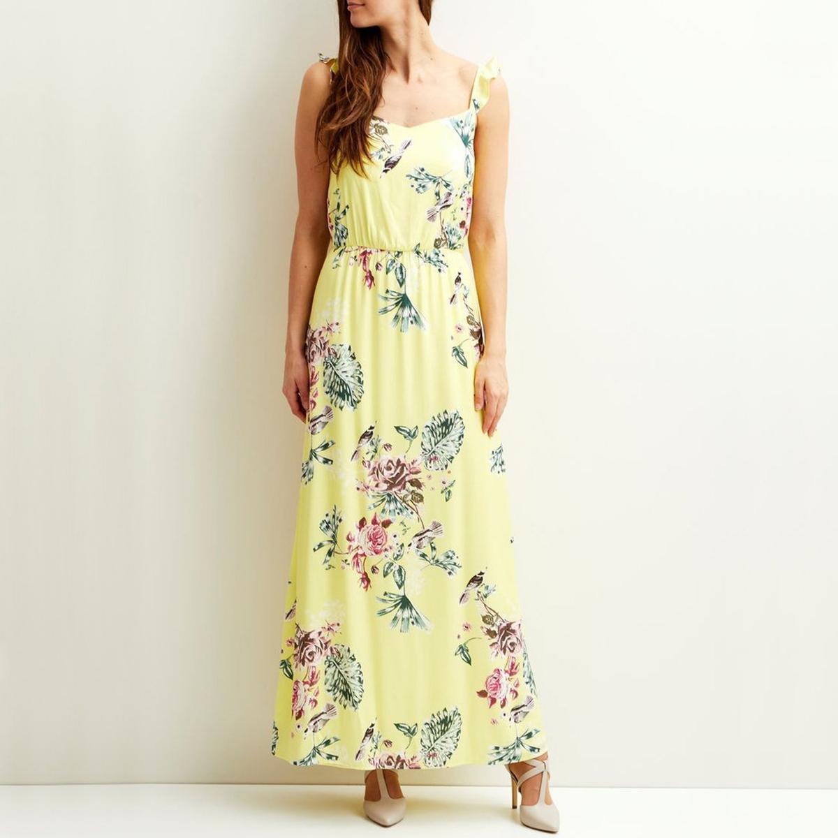 Długa sukienka w kwiaty na ramiączkach z falbankami