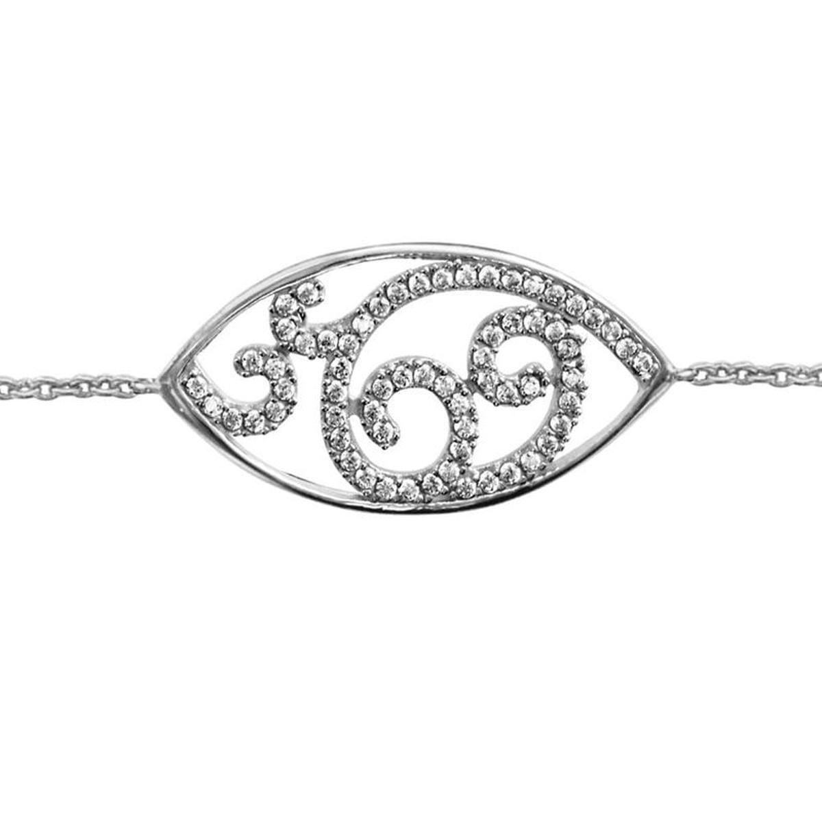 Bracelet Réglable: 16 à 18 cm Forme Amande Argent 925