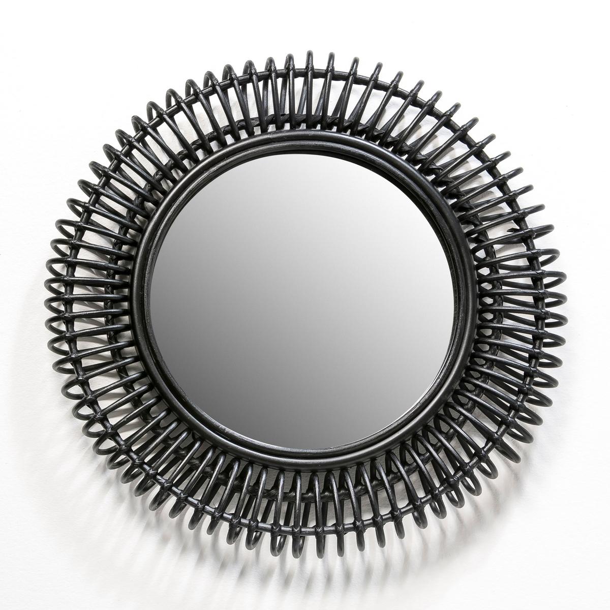 Зеркало круглое из ротанга Tarsile ?60 смХарактеристики: : - Из ротанга.Размеры :- Дл60 x В8 см .- Размеры зеркала : Диаметр 35 см<br><br>Цвет: черный