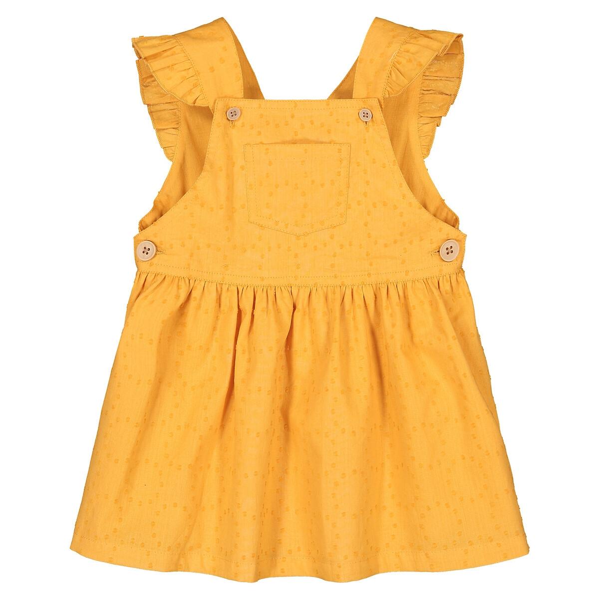 Платье LaRedoute С вышивкой и воланами 3 мес-4 года 1 год - 74 см желтый