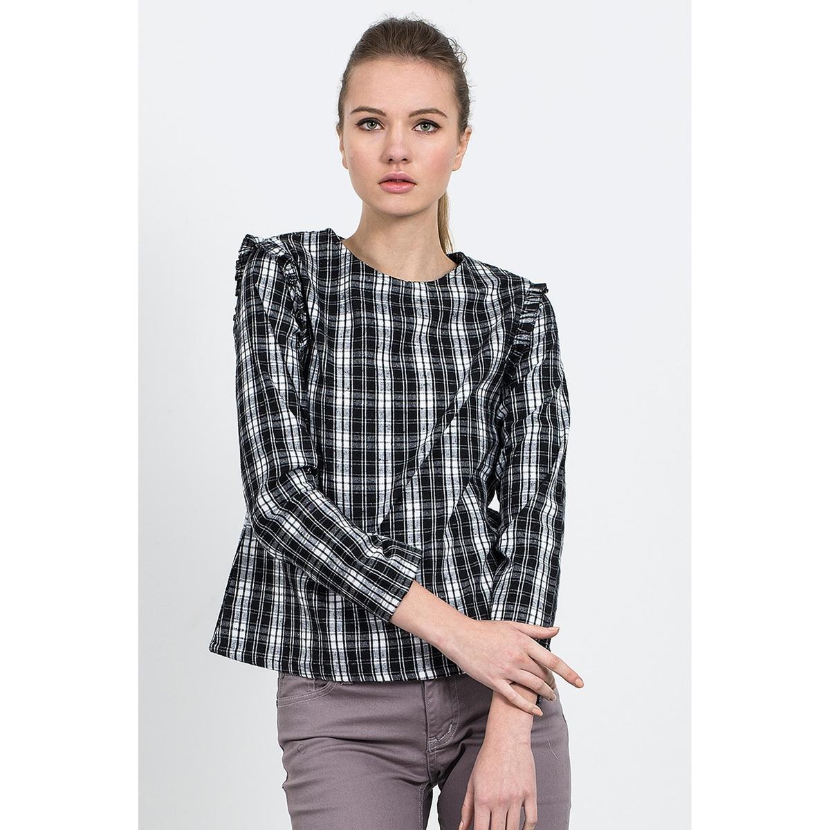 Блузка с длинными рукавами и принтом в клетку, BINGO TOP