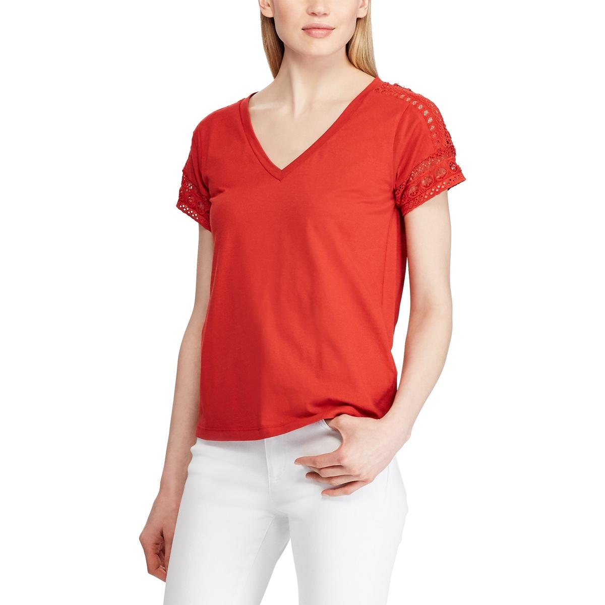 Блузка La Redoute С V-образным вырезом короткими рукавами и кружевом M красный недорого