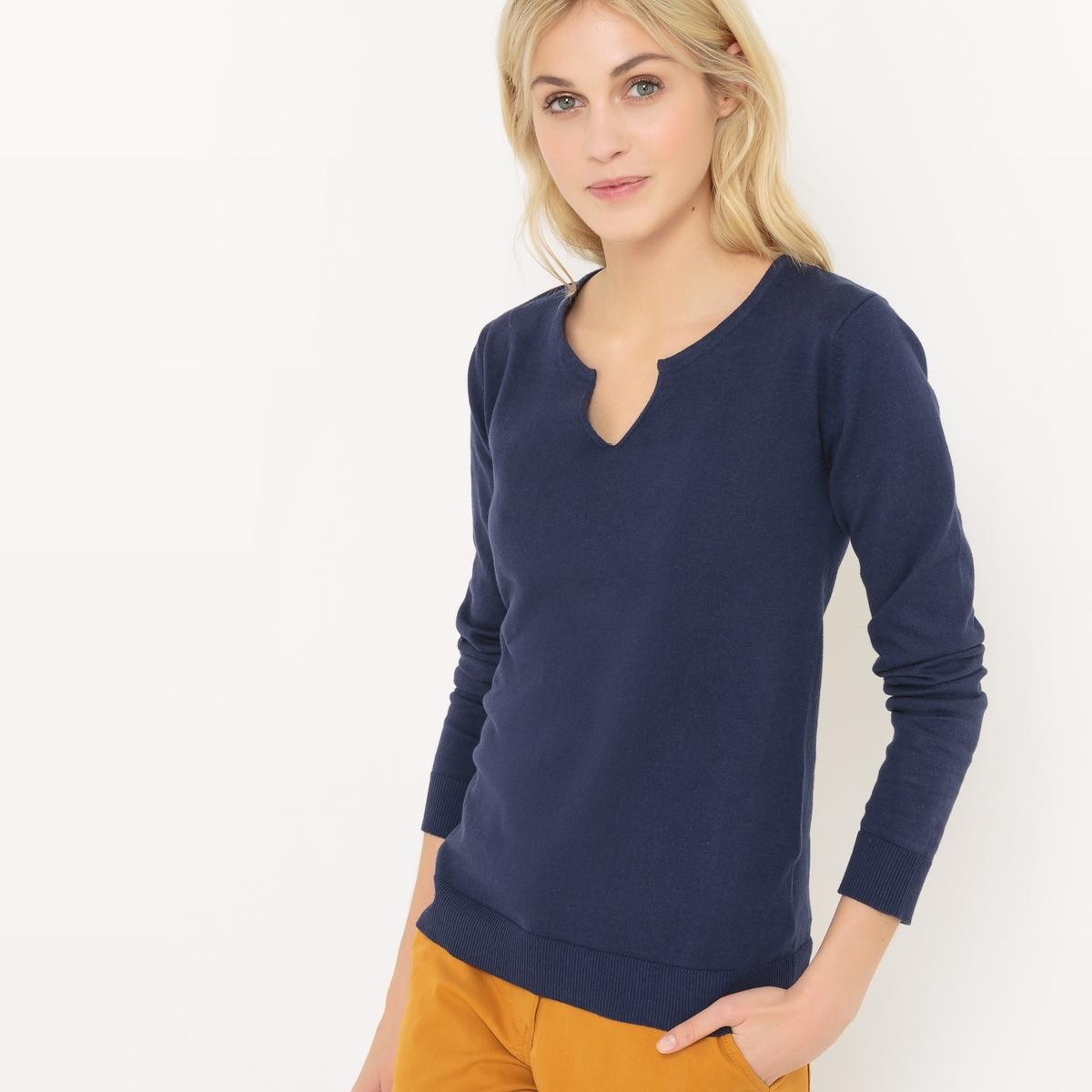 Пуловер с круглым вырезом с разрезом спереди из хлопка