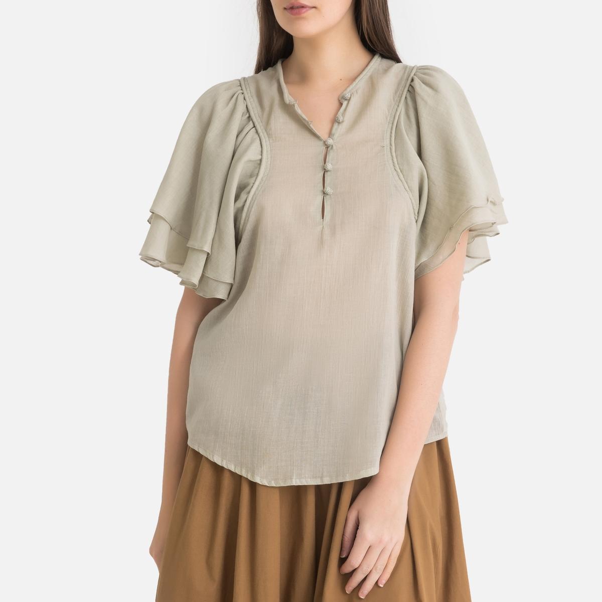 Блузка La Redoute Свободного покроя с короткими рукавами 2(M) зеленый
