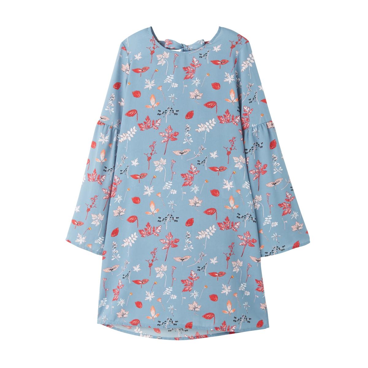 Платье расклешенное, короткое, однотонного цвета, с длинными рукавами