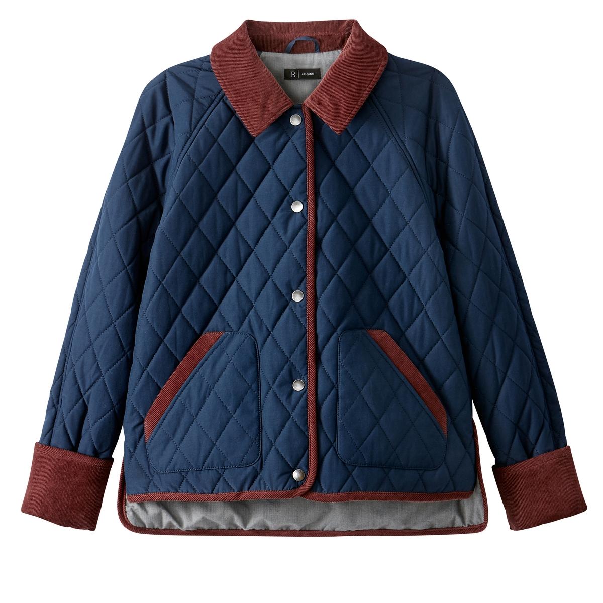 Куртка стеганаяДетали •  Длина  : укороченная  •  Воротник-поло, рубашечный  •  Застежка на кнопки Состав и уход •  55% хлопка, 45% полиэстера  •  Температура стирки 30°   •  Сухая чистка и отбеливание запрещены    •  Не использовать барабанную сушку   •  Не гладить<br><br>Цвет: темно-синий<br>Размер: 38 (FR) - 44 (RUS)